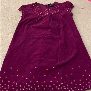 Girls purple corduroy short sleeve dress by George